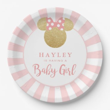 Disney Themed Minnie | Pink Striped Gold Glitter Baby Shower Paper Plate