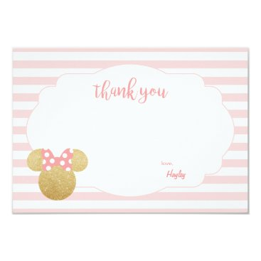 Disney Themed Minnie | Pink Striped Gold Glitter Thank You Card