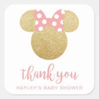 Minnie | Pink Striped Gold Glitter Thank You Square Sticker