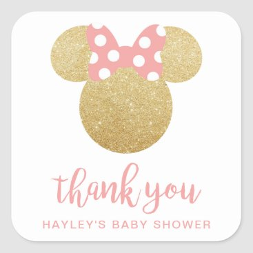 Disney Themed Minnie | Pink Striped Gold Glitter Thank You Square Sticker