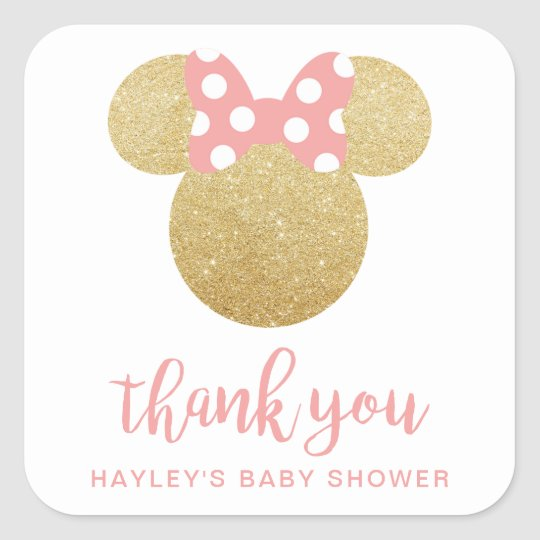 Minnie Pink Striped Gold Glitter Thank You Square