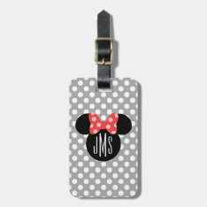 Minnie Polka Dot Head Silhouette | Monogram Bag Tag at Zazzle