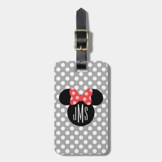 Minnie Polka Dot Head Silhouette | Monogram Bag Tag at Zazzle