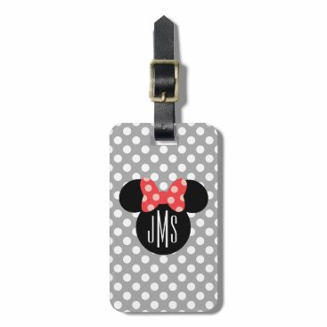 MickeyAndFriends Minnie Polka Dot Head Silhouette | Monogram Bag Tag