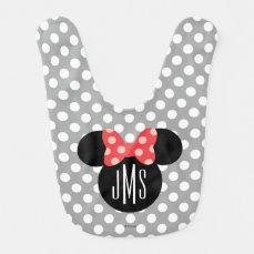 Minnie Polka Dot Head Silhouette   Monogram Bib