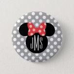 "Minnie Polka Dot Head Silhouette   Monogram Button<br><div class=""desc"">Customize this Minnie Mouse Head Silhouette with your monogram.</div>"