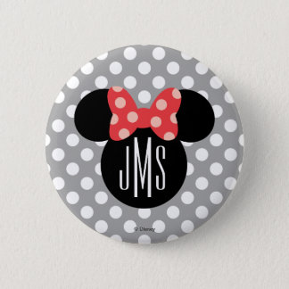 Minnie Polka Dot Head Silhouette | Monogram Button
