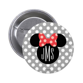 Minnie Polka Dot Head Silhouette | Monogram Button