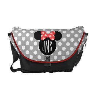 Minnie Polka Dot Head Silhouette   Monogram Courier Bag
