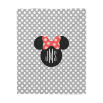 Minnie Polka Dot Head Silhouette | Monogram Fleece Blanket