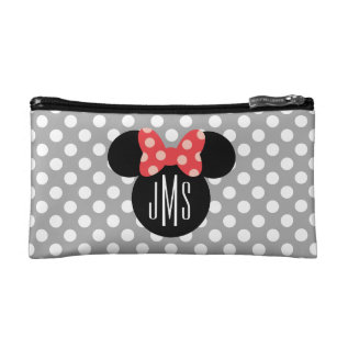 Minnie Polka Dot Head Silhouette | Monogram Makeup Bag at Zazzle