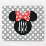 "Minnie Polka Dot Head Silhouette | Monogram Mouse Pad<br><div class=""desc"">Customize this Minnie Mouse Head Silhouette with your monogram.</div>"