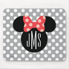 Minnie Polka Dot Head Silhouette | Monogram Mouse Pad at Zazzle
