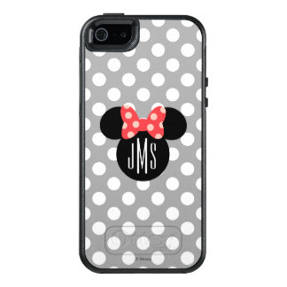 Minnie Polka Dot Head Silhouette   Monogram OtterBox iPhone 5/5s/SE Case