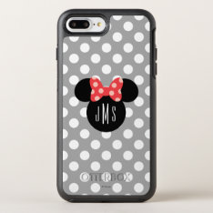 Minnie Polka Dot Head Silhouette   Monogram OtterBox Symmetry iPhone 7 Plus Case at Zazzle