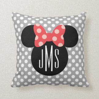 Minnie Polka Dot Head Silhouette   Monogram Throw Pillow