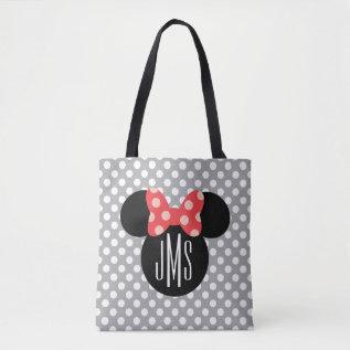 Minnie Polka Dot Head Silhouette | Monogram Tote Bag at Zazzle