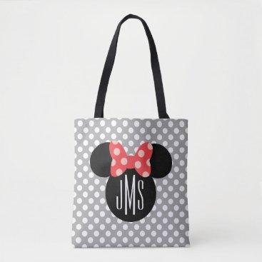 Disney Themed Minnie Polka Dot Head Silhouette | Monogram Tote Bag
