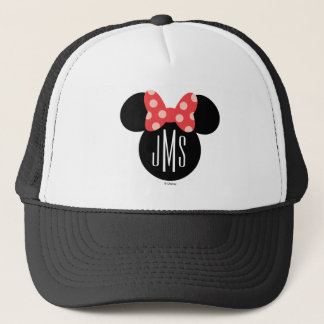Minnie Polka Dot Head Silhouette   Monogram Trucker Hat