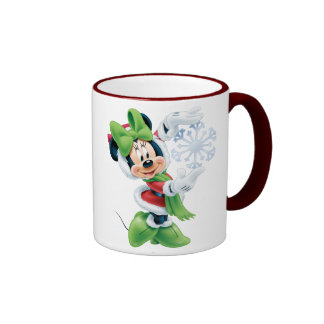 Minnie que sostiene el copo de nieve taza a dos colores