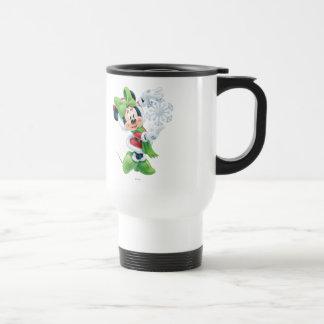 Minnie que sostiene el copo de nieve taza de viaje de acero inoxidable