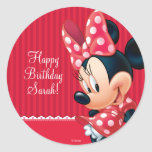 Minnie Red and White Birthday Classic Round Sticker