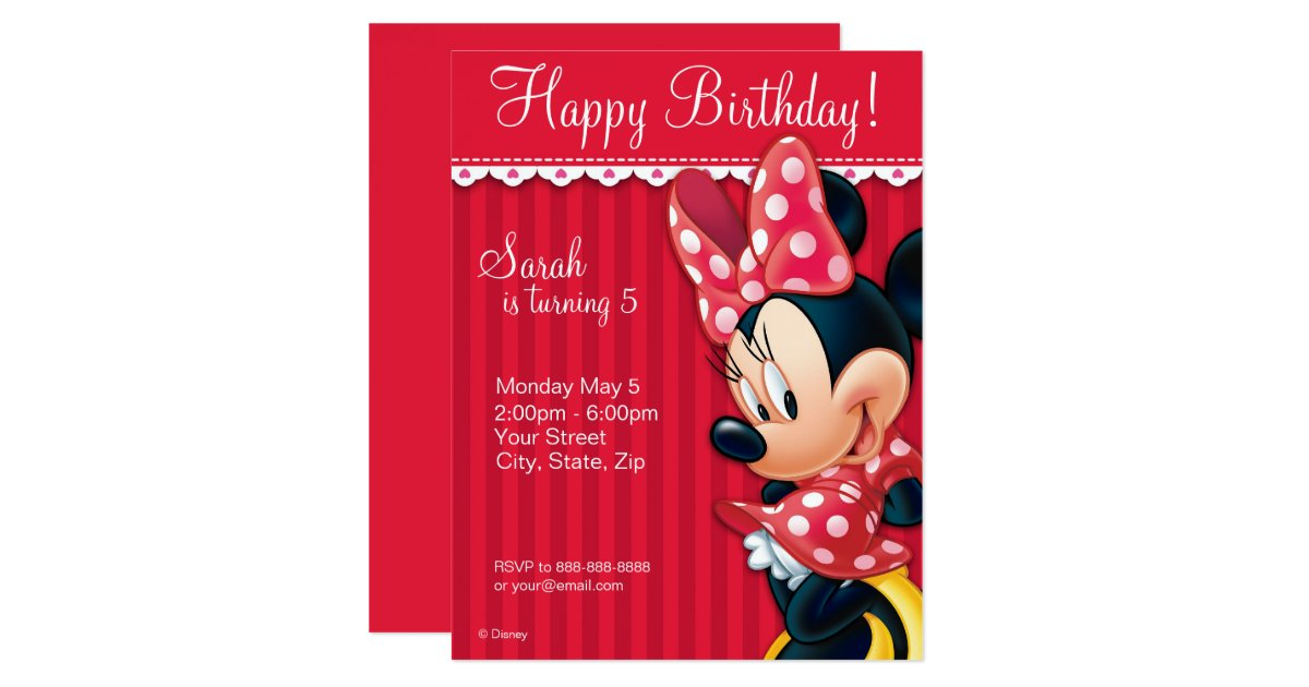 Birthday Invitations Birthday Party Invites – Minnie Invitations for Birthdays