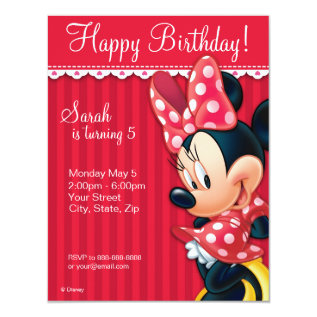 Minnie Red and White Birthday Invitation at Zazzle