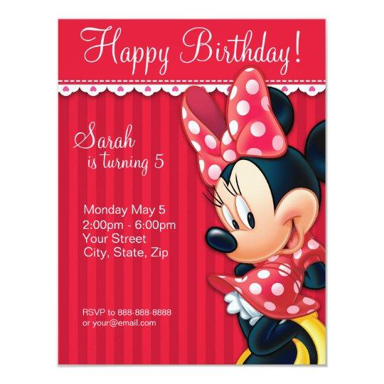 Minnie Red and White Birthday Invitation Zazzlecom