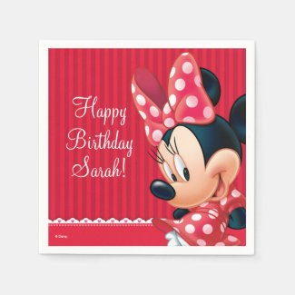 Minnie Red and White Birthday Paper Napkins