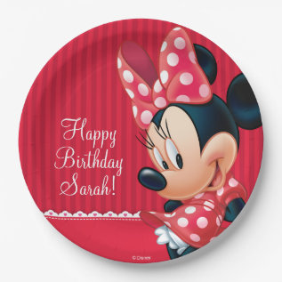 Minnie Red And White Birthday Paper Plate at Zazzle