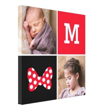 Disney Themed Minnie Red Polka Dot | Custom Photos & Monogram Canvas Print