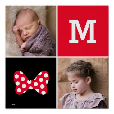 Disney Themed Minnie Red Polka Dot | Custom Photos & Monogram Poster