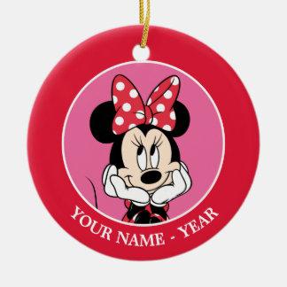 Minnie rojo y blanco 1 adorno navideño redondo de cerámica