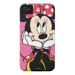 Minnie rojo y blanco 1 iPhone 4 Case-Mate cobertura