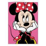 Minnie rojo y blanco 1 tarjeta de felicitación
