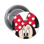 Minnie rojo y blanco 2 pin redondo de 2 pulgadas