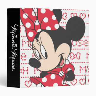 Minnie rojo y blanco 3 carpeta 1 1/2""