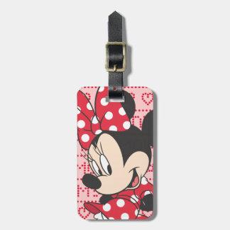 Minnie rojo y blanco 3 etiquetas para equipaje