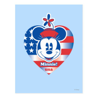 Minnie! USA Flag Heart Emblem Postcard