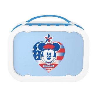 Minnie! USA Flag Heart Emblem Yubo Lunchbox