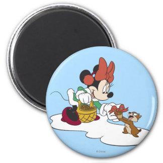 Minnie with a Chipmunk 2 Inch Round Magnet