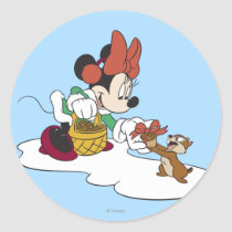 Minnie with a Chipmunk Classic Round Sticker