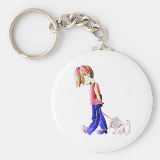 Minnie-yo arte digital del perro del muchacho que  llavero redondo tipo pin