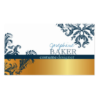 minniemay dark teal damask/dash faux gold business card
