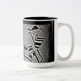 Minoan Lady and Swallows Two-Tone Coffee Mug