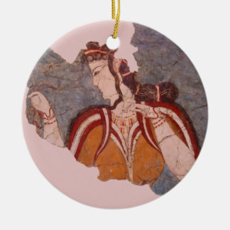 Minoan Wall Painting Double-Sided Ceramic Round Christmas Ornament