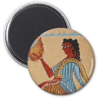 Minoan women painted around 1550-1450 BC 2 Inch Round Magnet