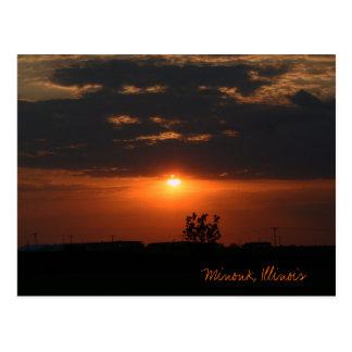 Minonk, Illinois sunset landscape Postcard
