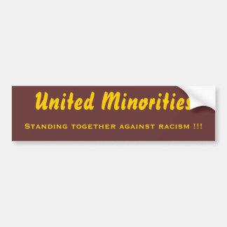 Minorías unidas pegatina para auto